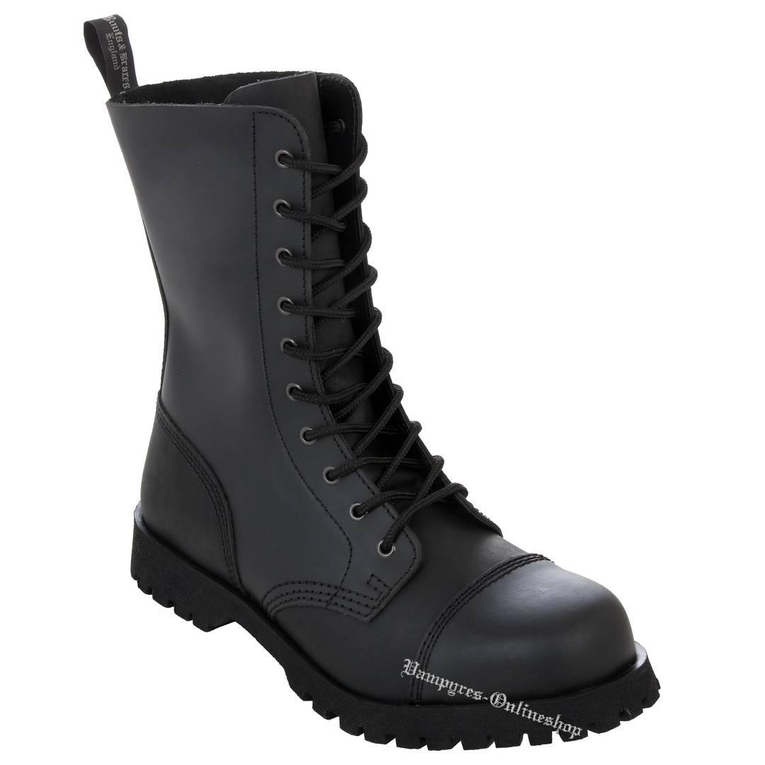 Boots & Braces 10-Loch Basic Schwarz Matt Stiefel Rangers