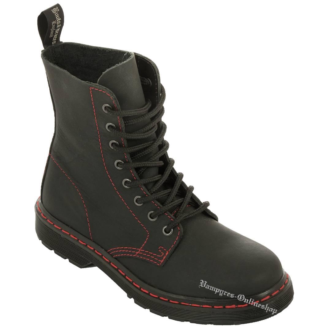 Boots & Braces Easy 8-Loch Basic Rote Naht Schwarz Matt