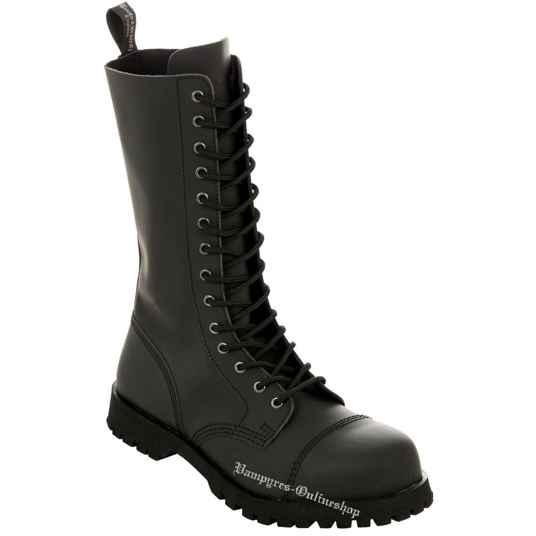 Boots & Braces 14-Loch Basic Schwarz Matt Stiefel Rangers