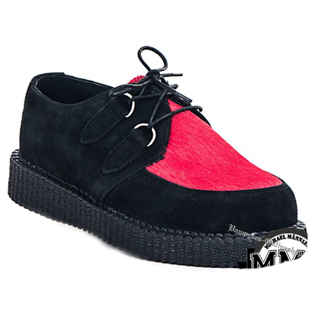 Boots & Braces Creeper New Fell Schwarz Rot Schuhe Creepers