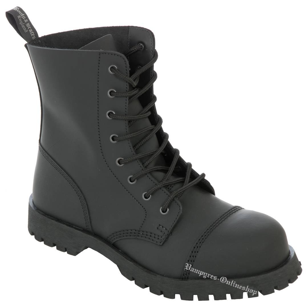 Boots & Braces 8-Loch Basic No Steel Schwarz Matt Stiefel