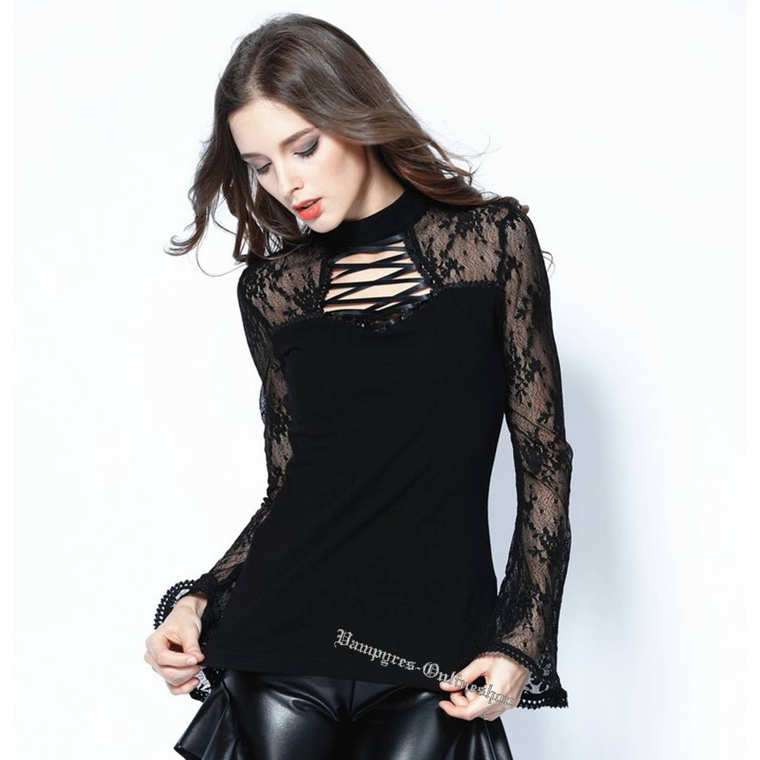 Dark In Love Gothic Lace Sleeve Top TW102