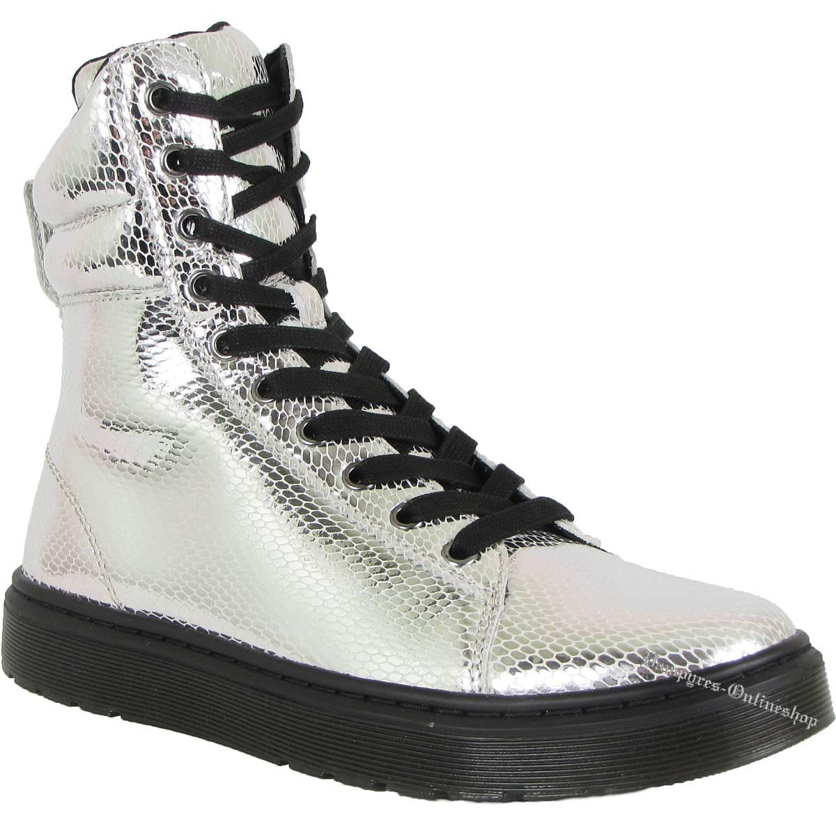 Dr. Martens 10-Loch Mix Mini Metallic Snake Silber 15319040 Docs Boots