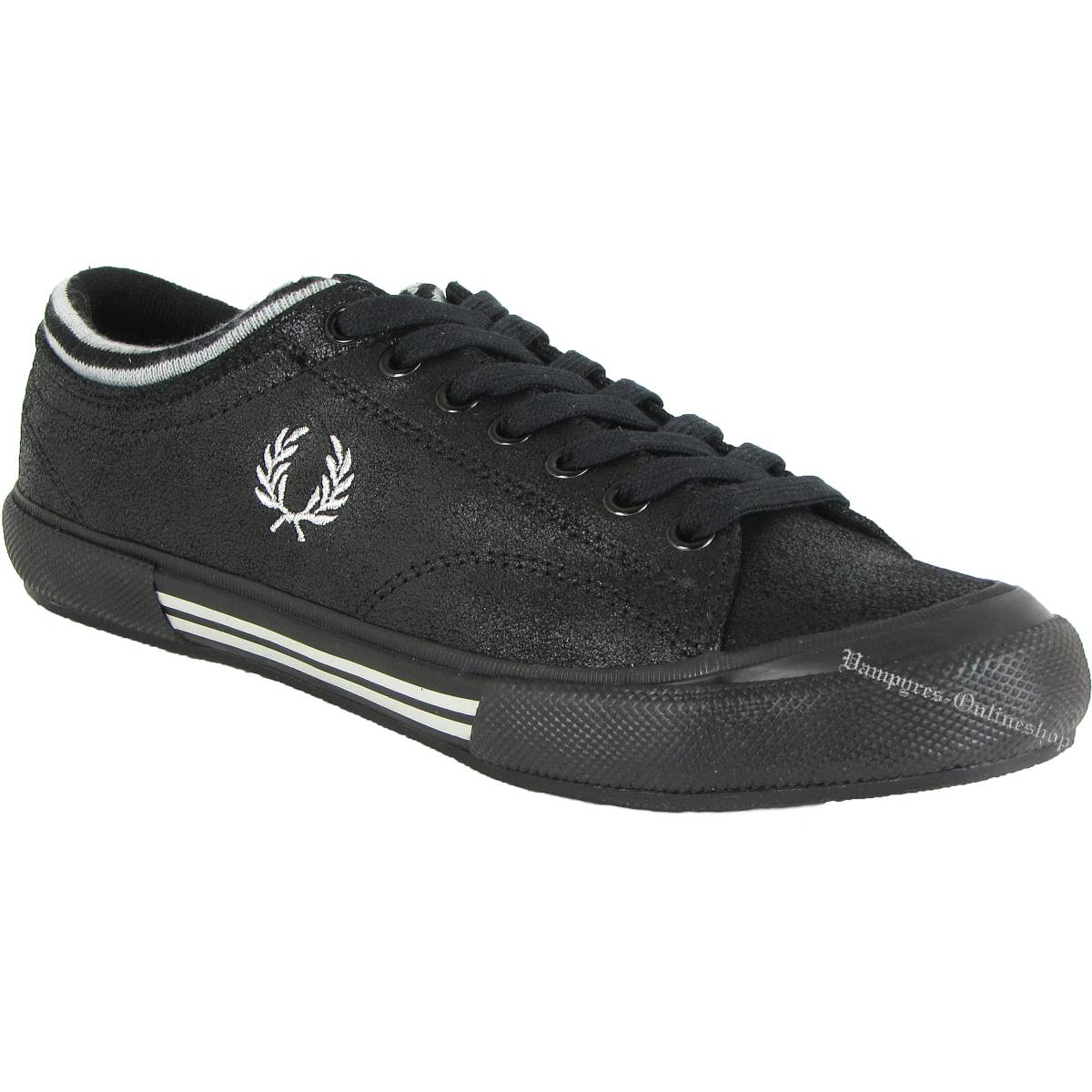Fred Perry Black Leather Sneaker B2022102 Leder Schwarz