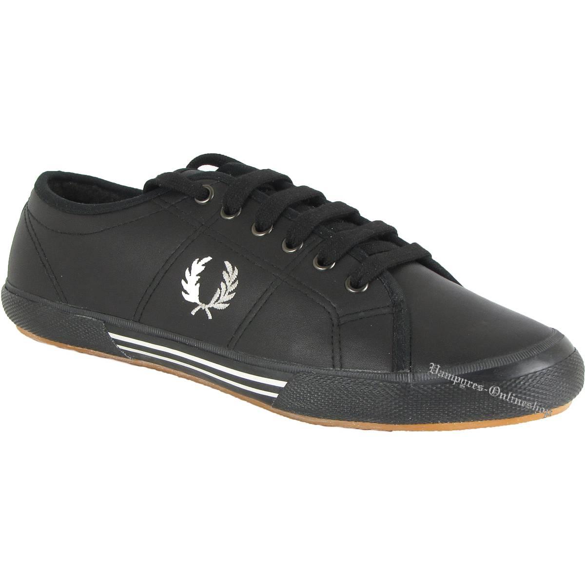 Fred Perry Vintage Tennis Leather B8153 Leder Sneaker Schwarz