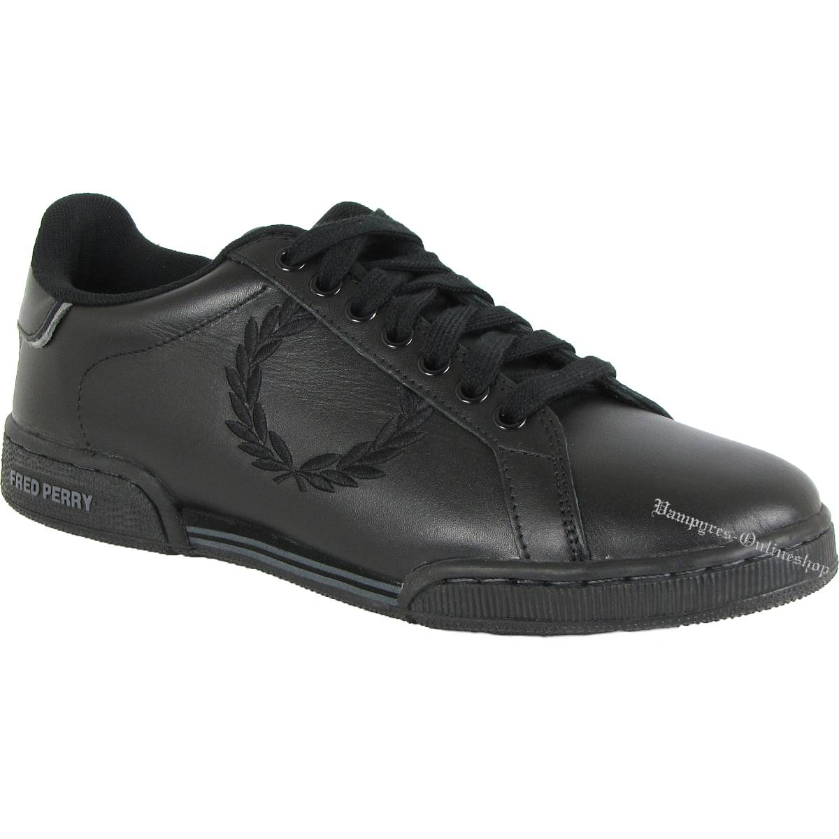 Fred Perry Embroidered Laurel Black Steel B928 Schwarz Sneaker