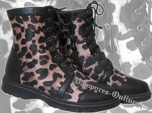 Inamagura 8-Loch Damen Boots Schwarz Leopard Stiefel