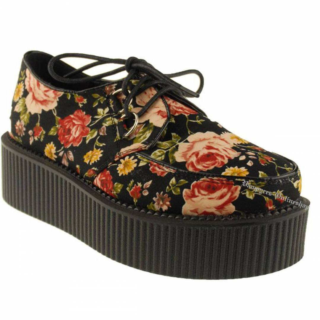Industrial Punk Creeper Flower Schwarz Creepers