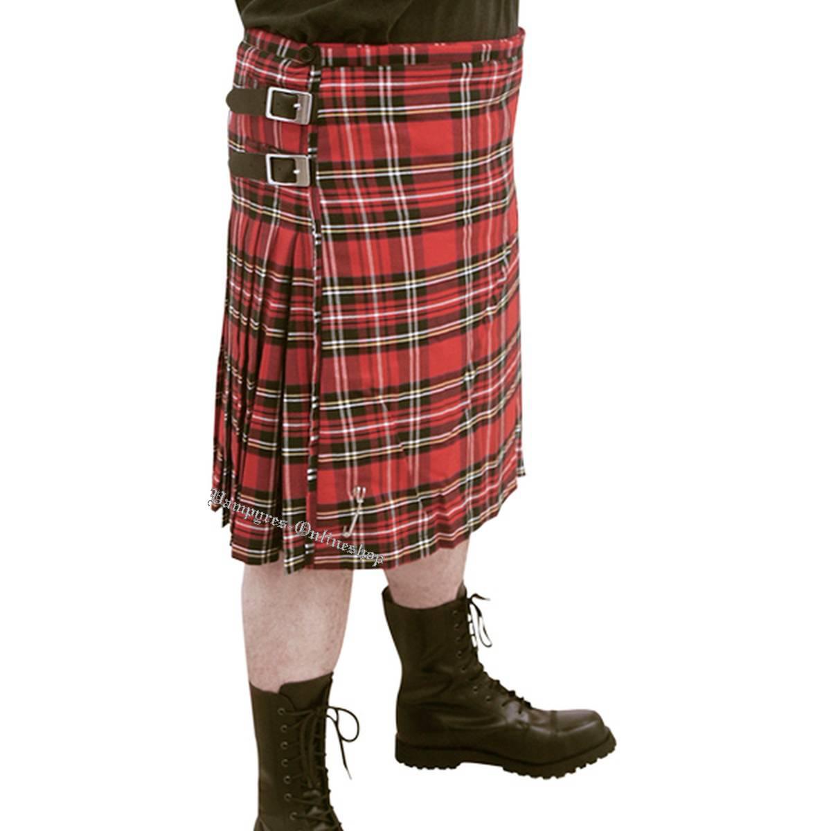 By MMB Scottish Kilt Herren Schottenrock Rot Tartan Rock