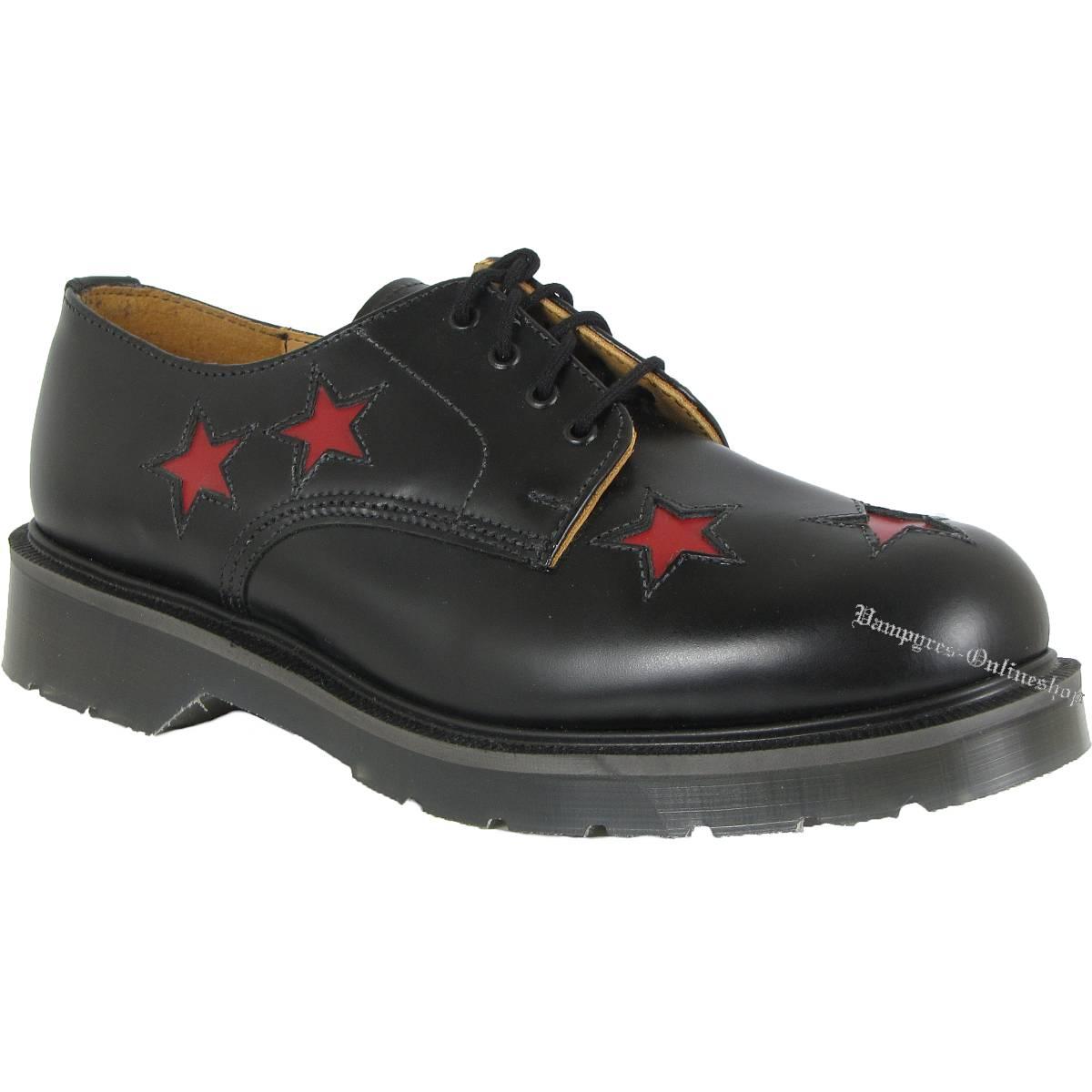Solovair 4-Loch Red Star 14-1 Schwarz Rote Sterne Schuhe
