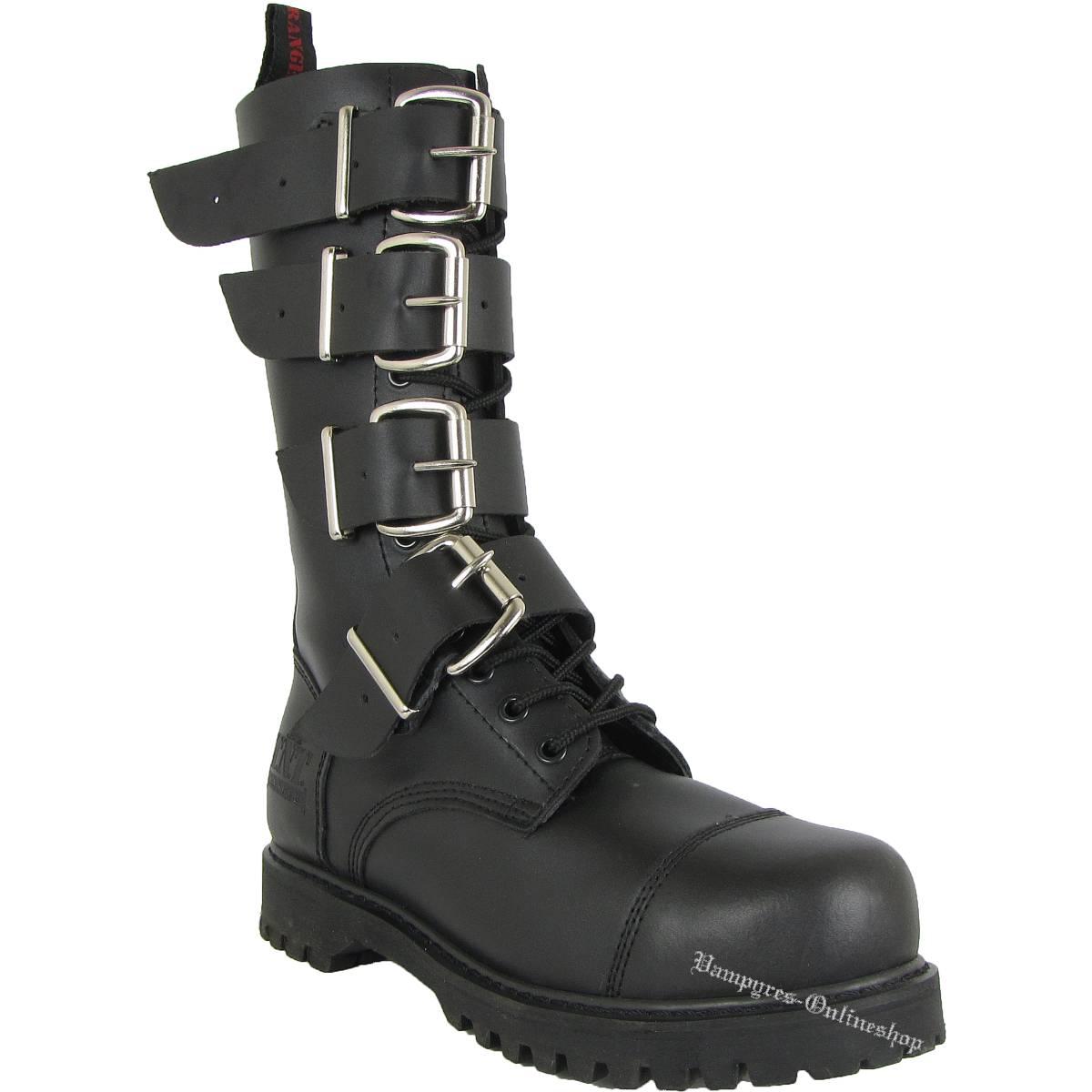 TNT 14-Loch 4-Schnallen Side-Zip Stiefel Schwarz Rangers Boots